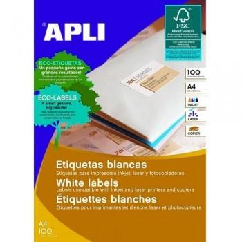 ETIQUETAS ADHESIVAS MULTIFUNCIÓN A4 105X57 MM. 100 HOJAS CANTOS RECTOS, CORREOS ON LINE, APLI