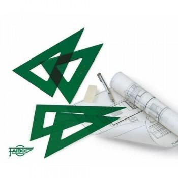 Escuadra verde sin graduar 25 cm Faibo con reborde aumenta 15%