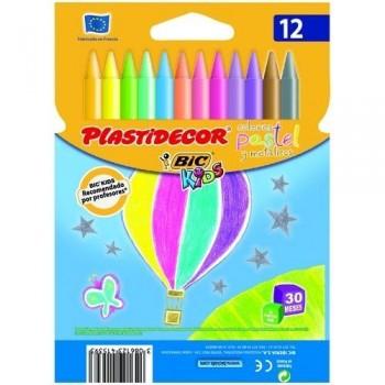 Cera plástica estuche 12 un. surtidas colores pastel Plastidecor