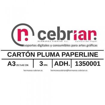 CAJA 40 HOJAS CARTON PLUMA DIN-A3 3MM ADHESIVO 1 CARA PAPERLINE