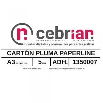 CAJA 25 HOJAS CARTON PLUMA DIN-A3 5MM ADHESIVO 1 CARA PAPERLINE