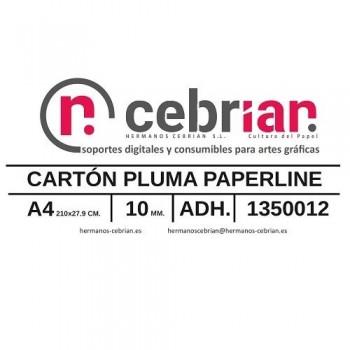CAJA 30 HOJAS CARTON PLUMA DIN-A4 10MM ADHESIVO 1 CARA PAPERLINE