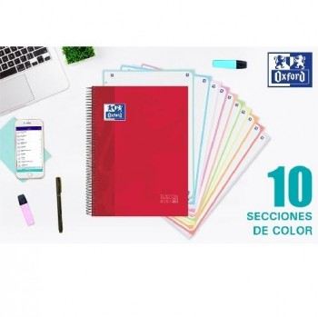 CUADERNO 150H OXFORD EUROPEAN BOOK 10 TAPA EXTRADURA 10 COLORES A4+ 5X5MM