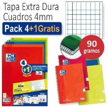 PACK 4+1 CUADERNO FOLIO 80H 4x4 OXFORD TAPA EXTRADURA WRITE&ERASE COLORES VIVOS