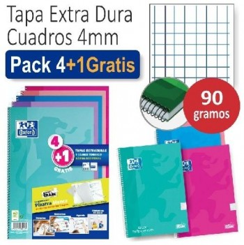 PACK 4+1 CUADERNO OXFORD TAPA EXTRADURA WRITE&ERASE FOLIO 80H 4X4 COLORES TENDENCIA