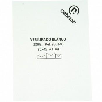 PAQUETE 100 CUBIERTAS VERJURADO A4 280 GR. COTTON LAID PREMIUM BLANCO