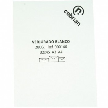 PAQUETE 100 CUBIERTAS VERJURADO A3 300 GR. COTTON LAID PREMIUM BLANCO