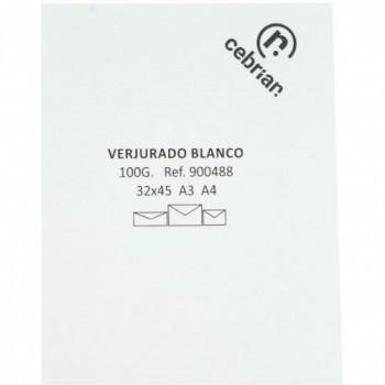PAQUETE 100 HOJAS PAPEL A4 VERJURADO BLANCO 100G