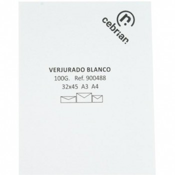 PAQUETE 100 HOJAS PAPEL A3 VERJURADO BLANCO 100G