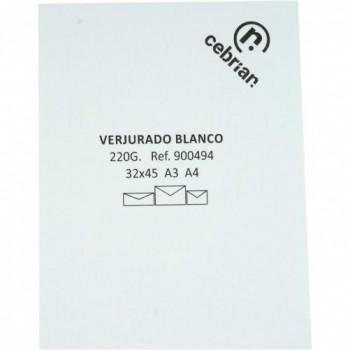 PAQUETE 125 HOJAS PAPEL VERJURADO 220G 70X100 BLANCO