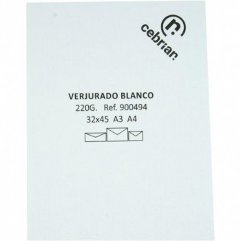PAQUETE 100 HOJAS PAPEL A3 VERJURADO BLANCO 220G