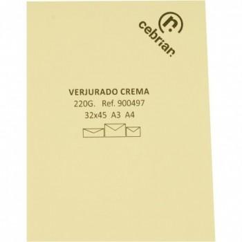 PAQUETE 125 HOJAS PAPEL VERJURADO 220G 70X100 CREMA