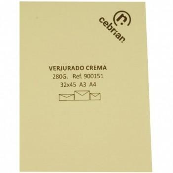 PAQUETE 100 CUBIERTAS VERJURADO SRA3 280 GR. COTTON LAID IVORY