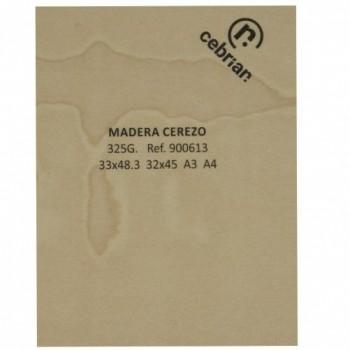 PAQUETE 10 HOJAS CARTULINA MADERA CEREZO 325G 33X48,2