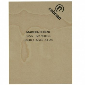 PAQUETE 10 HOJAS CARTULINA MADERA CEREZO 325G SRA3