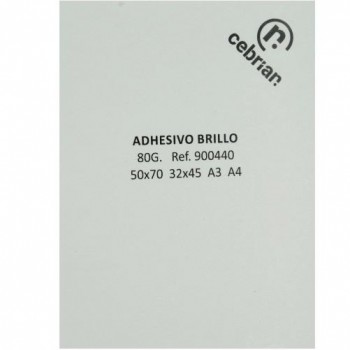 100 HOJAS PAPEL ADHESIVO C/ CORTES 320x450 SRA3 BRILLO