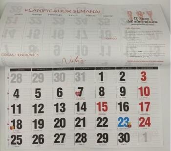 PAQUETE 25 FALDILLAS CALENDARIO 23,5X14 CM. CON NOTAS