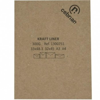 PAQUETE 100 HOJAS 33X48,3 300GR. CARTULINA KRAFT LINER