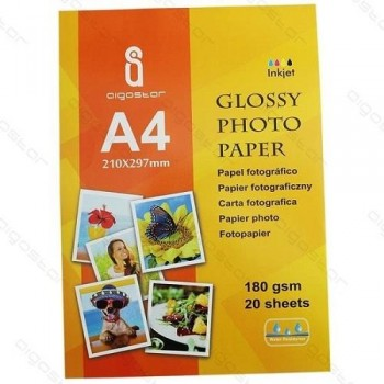 PAQUETE 20 H. PAPEL FOTOGRAFICO A4 180G GLOSSY INKJET