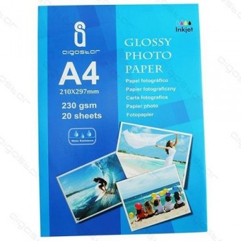 PAQUETE 20 H. PAPEL FOTOGRAFICO A4 230G GLOSSY INKJET