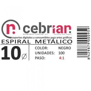 CAJA 100U ESPIRAL METAL 10 MM NEGRO PASO 4:1
