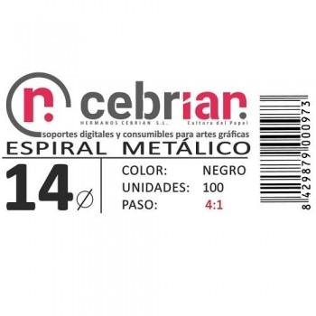CAJA 100U ESPIRAL METAL 14 MM NEGRO PASO 4:1