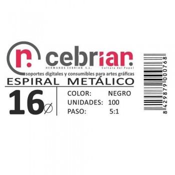 CAJA 100U ESPIRAL METAL 16 MM NEGRO PASO 5:1