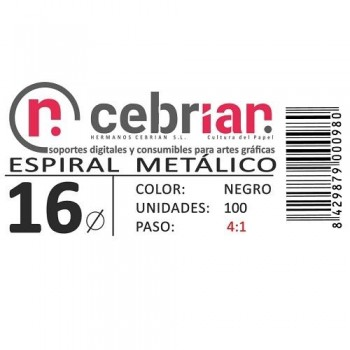 CAJA 100U ESPIRAL METAL 16 MM NEGRO PASO 4:1