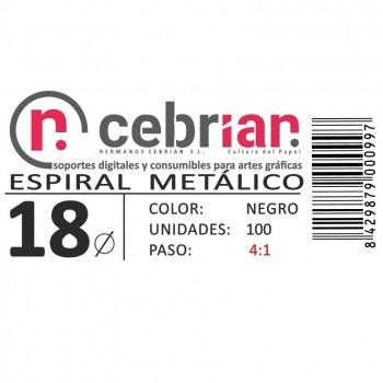 CAJA 100U ESPIRAL METAL 18 MM NEGRO PASO 4:1
