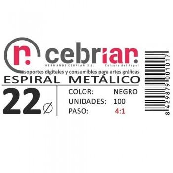 CAJA 100U ESPIRAL METAL 22 MM NEGRO PASO 4:1