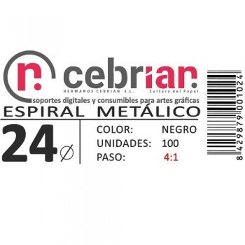 CAJA 100U ESPIRAL METAL 24 MM NEGRO PASO 4:1