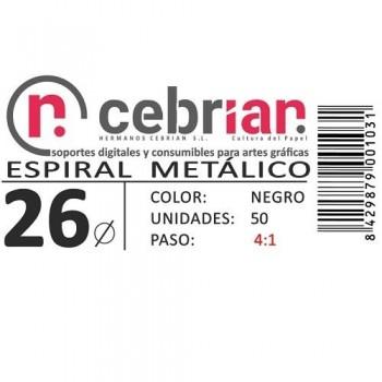 CAJA 50U ESPIRAL METAL NEGRO 26 MM PASO 4:1