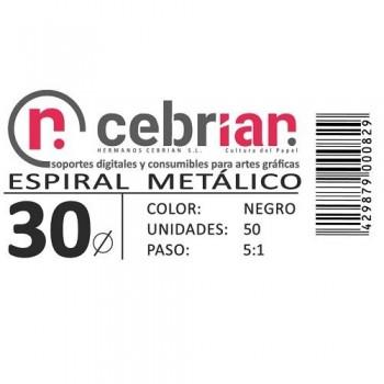 CAJA 50U ESPIRAL METAL 30 MM NEGRO PASO 5:1