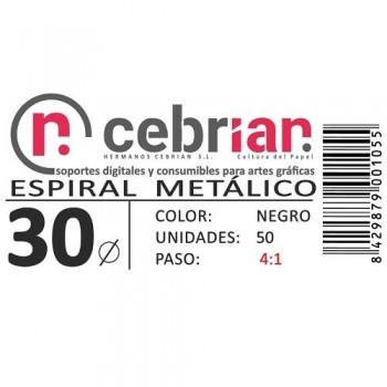 CAJA 50U ESPIRAL METAL 30 MM NEGRO PASO 4:1