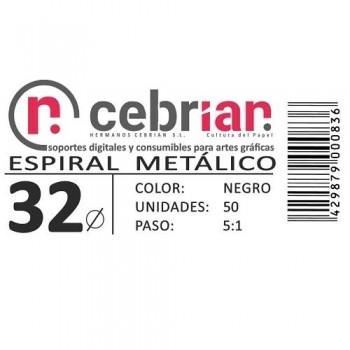 CAJA 50U ESPIRAL METAL 32 MM NEGRO PASO 5:1