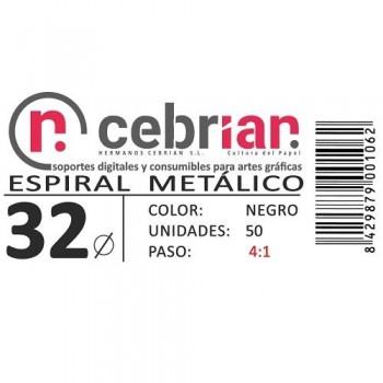 CAJA 50U ESPIRAL METAL NEGRO 32 MM PASO 4:1