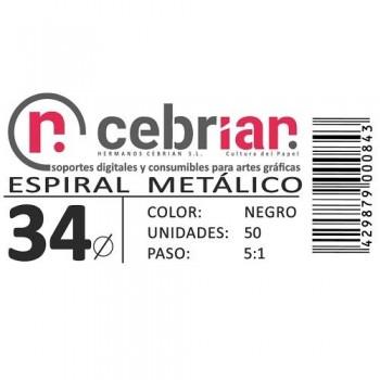 CAJA 50U ESPIRAL METAL 34 MM NEGRO PASO 5:1