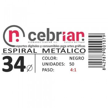CAJA 50U ESPIRAL METAL NEGRO 34 MM PASO 4:1