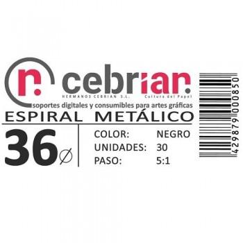 CAJA 30U ESPIRAL METAL 36 MM NEGRO PASO 5:1
