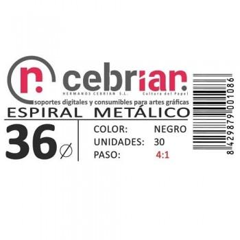 CAJA 50U ESPIRAL METAL NEGRO 36 MM PASO 4:1