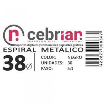 CAJA 30U ESPIRAL METAL NEGRO 38 MM PASO 5:1