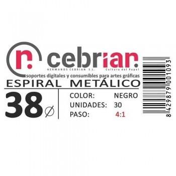 CAJA 30U ESPIRAL METAL NEGRO 38 MM PASO 4:1