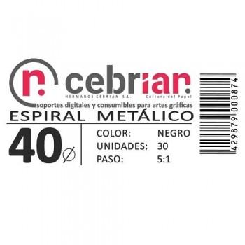 CAJA 30U ESPIRAL METAL NEGRO 40 MM PASO 5:1