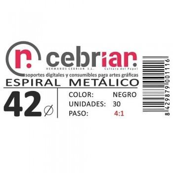 CAJA 30U ESPIRAL METAL NEGRO 42 MM PASO 4:1
