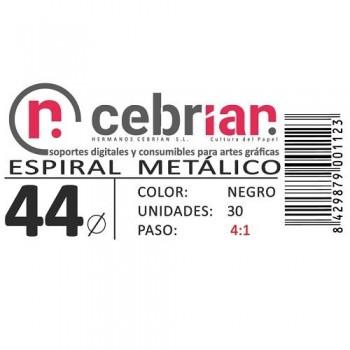 CAJA 30U ESPIRAL METAL NEGRO 44 MM PASO 4:1