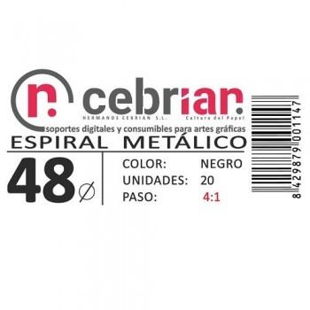 CAJA 20U ESPIRAL METAL NEGRO 48 MM PASO 4:1