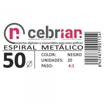 CAJA 25U ESPIRAL METAL NEGRO 50 MM PASO 4:1